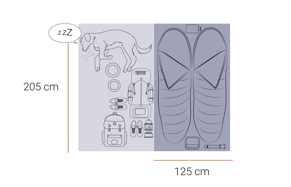 espace dans une tente